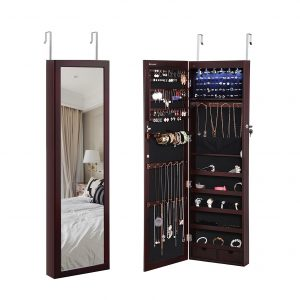 SONGMICS 6 LEDs Jewelry Cabinet Lockable Wall Door Mounted