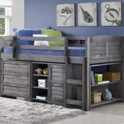 Custom Kids Grey Louver Twin Low Loft Bed