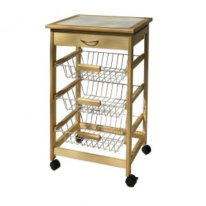 Organize It All Kitchen Pinewood Utility Cart