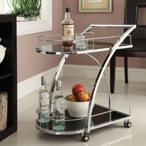 Chrome Metal Bar Wine Tea Serving Cart