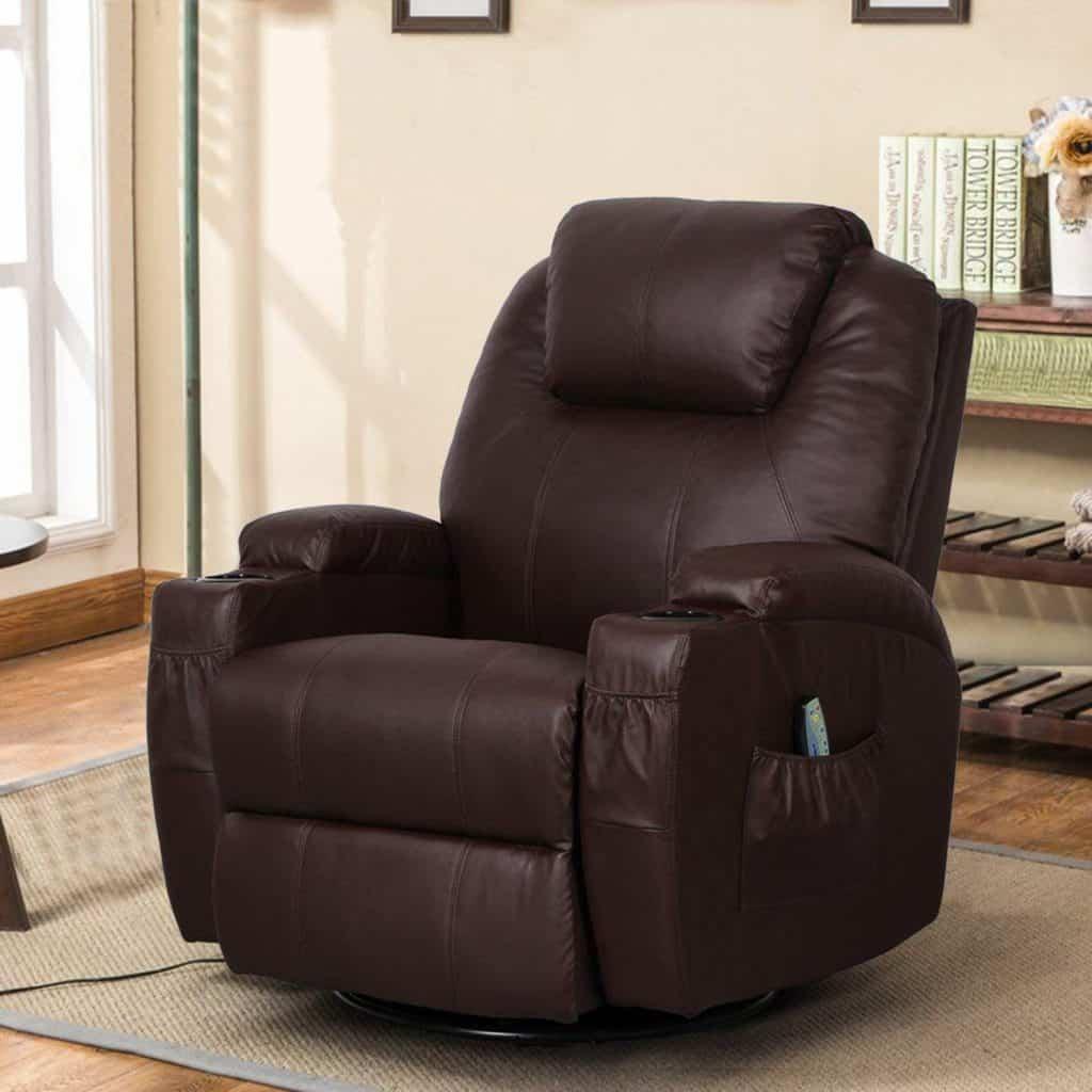 Esright Massage Recliner Heated PU Leather Swivel Chair