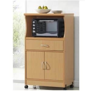 Hodedah Beech Finish Microwave Cart Stand