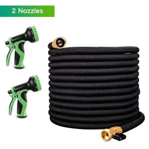 LATME 50-feet Garden Hose Upgraded 9 Function Spray Nozzle, Expandable Water Hose, Double Latex Core