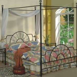 Queen Size Black Finish Canopy Metal Bed Headboard