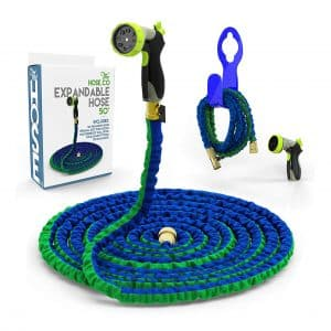 The Hose Co Blue, Green Double Latex Long-lasting 50ft KinkProof Hose, Bonus Wall Hook