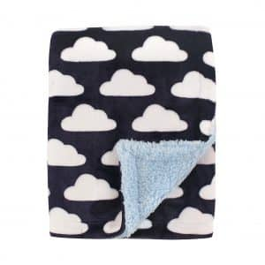 Hudson Baby Blanket with Sherpa Backing, Blue Clouds, One Size