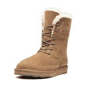 Aumu Womens Classic Lace-up Fur Snow Boot