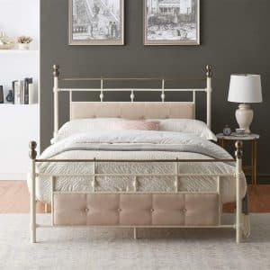 O&K Furniture Platform Metal Bed with Upholstered Headboard