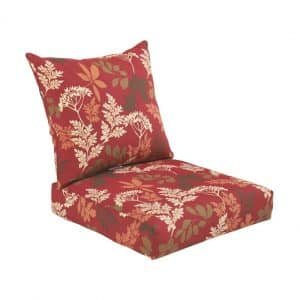 Bossima Indoor/Outdoor Premium Cushion, Red/Brown Floral