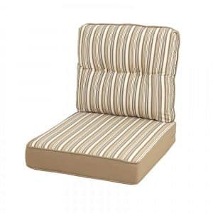 Quality Outdoor Living Beige Stripe All Weather Patio Deep Seating pillows