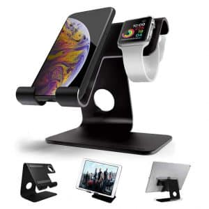 ZVEproof 2 in 1 Apple Watch Stand Universal Desktop Cellphone Stand, Black