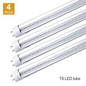 LightingWill LED Light Tube, 1000Lumens 10W, 4 Pack