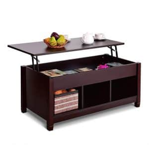 Tangkula Coffee Table with Lift Top for Living Room (Brown with Lower Shelf)