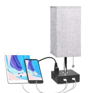 Aooshine Modern Solid Wood USB Bedside Table Lamp