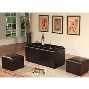 Roundhill Furniture Espresso Leather Storage Coffee Table
