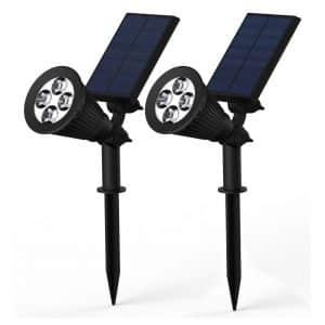 Solar Lights, BlackLemon 2-in-1 Waterproof 4 LED Solar Spotlight