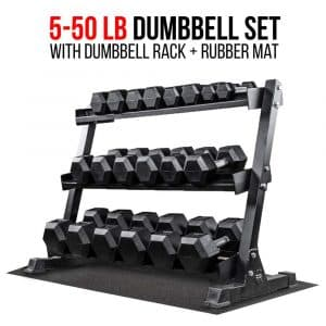 Rep 5-50 lb Rubber Hex Dumbbell Set