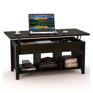 Tribesigns Coffee Table with some Hidden Storage (Dark Teak)
