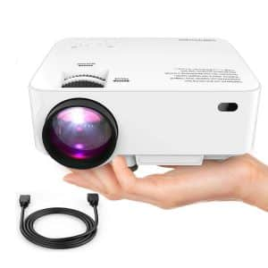 DBPOWER Mini Projector Full HD Movie Projector with HDMI Cable (White)