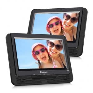 NAVISKAUTO 9 inches Dual-Screen Car DVD Player for Kids