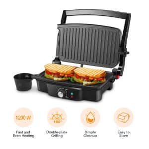 iSiLER- Panini Maker 4 Slice Panini Press Grill