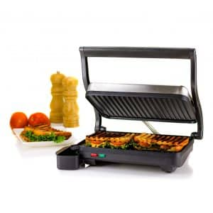 Ovente 2-Slice GP0620BR Electric Panini Press Grill Gourmet Sandwich Maker