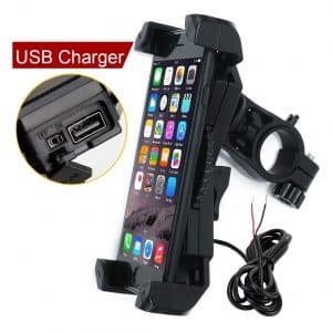 Motorcycle Phone Mount with Charger 5V 2.4A USB Port