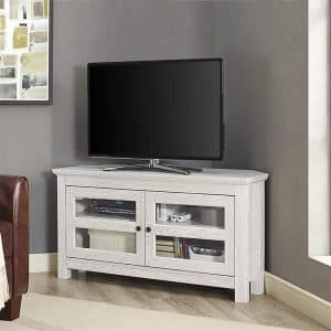 "WE Furniture 44"" White Wash Wood TV Stand"