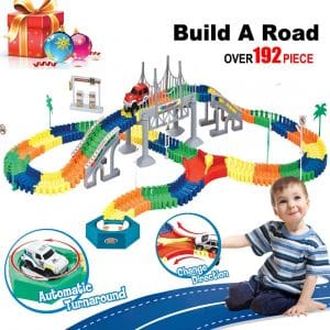 BooTaa- Car Race Tracks Train Track for Boys 192 Piece Large Set