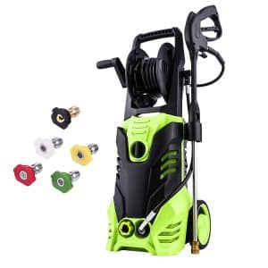 Meditool Pressure Washer, 1800W Rolling Wheels with 33 Foot Extension Cord