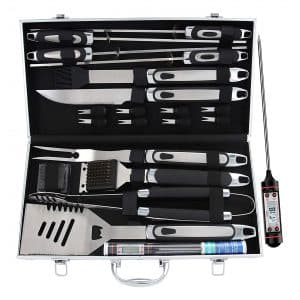 ROMANTICIST 21 pc BBQ Grill Accessories Set with Thermometer