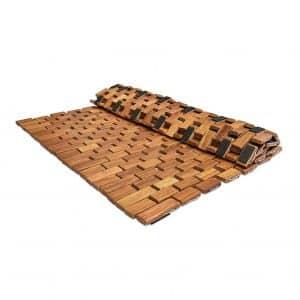Soothing Styles Large Folding Teak Shower Mat