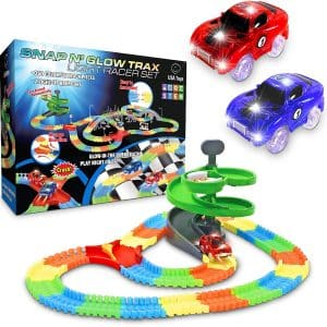 USA Toyz-Glow Race 360pk Flexible Glow Tracks for Boys Ramp Set