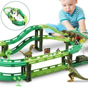 Tencoz - Dinosaur Race Track, Car, Train Tracks Set