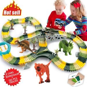 HOMOFY Dinosaur Toys Flexible Track 192 Pcs Race Car for Kids