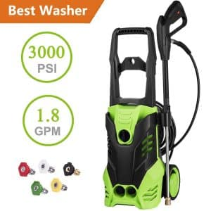 guiok 3000 PSI Electric Pressure Washer with Power Hose Gun and 5 Interchangeable Nozzles