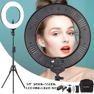 ZOMEI 14 inch Dimmable LED Ring Light with Stand