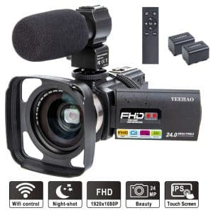 YEEHAO Camcorder Wi-Fi HD 1080P Video Camera with Wide Angle Lens