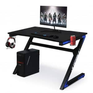 Computer Gaming Desk with Cup Holder and Headphone Hook