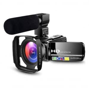 LVQUONE Ultra HD 1080P Camcorder Video Camera with Powerful Microphone