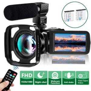 VideoSky Video Camera FHD 1080P Camcorder with Microphone