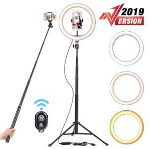 "Yesker 10.2"" Selfie Ring Light Dimmable with Tripod Stand"