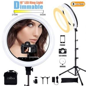 "Creatck 18"" LED Ring Light with Tripod Stand"