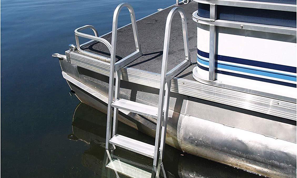 Aeafaryne Marine 2 Step Boat Swim Ladder 23.6 Stainless Steel Dock Ladder Pontoon Boat Ladder Telescoping Ladder for Boats Yacht RV Pond Deck Pool
