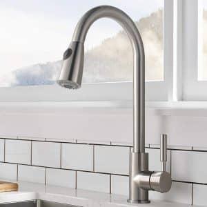 Comllen High Arc Brushed Nickel Kitchen Faucet