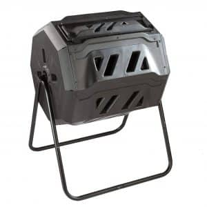 Useful Twin Chamber Dual Chamber Rotating Compost Bin with Sliding Door