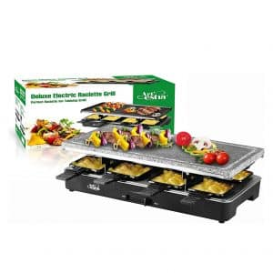 Artestia Electric Raclette with Non-stick Grilling Tabletop for Easy Clean and Adjustable Temperature Control