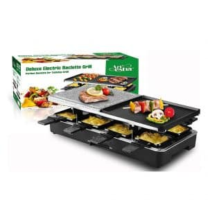 Artestia Electric Raclette Grill with Non-Stick Top Plates and Granite Stone