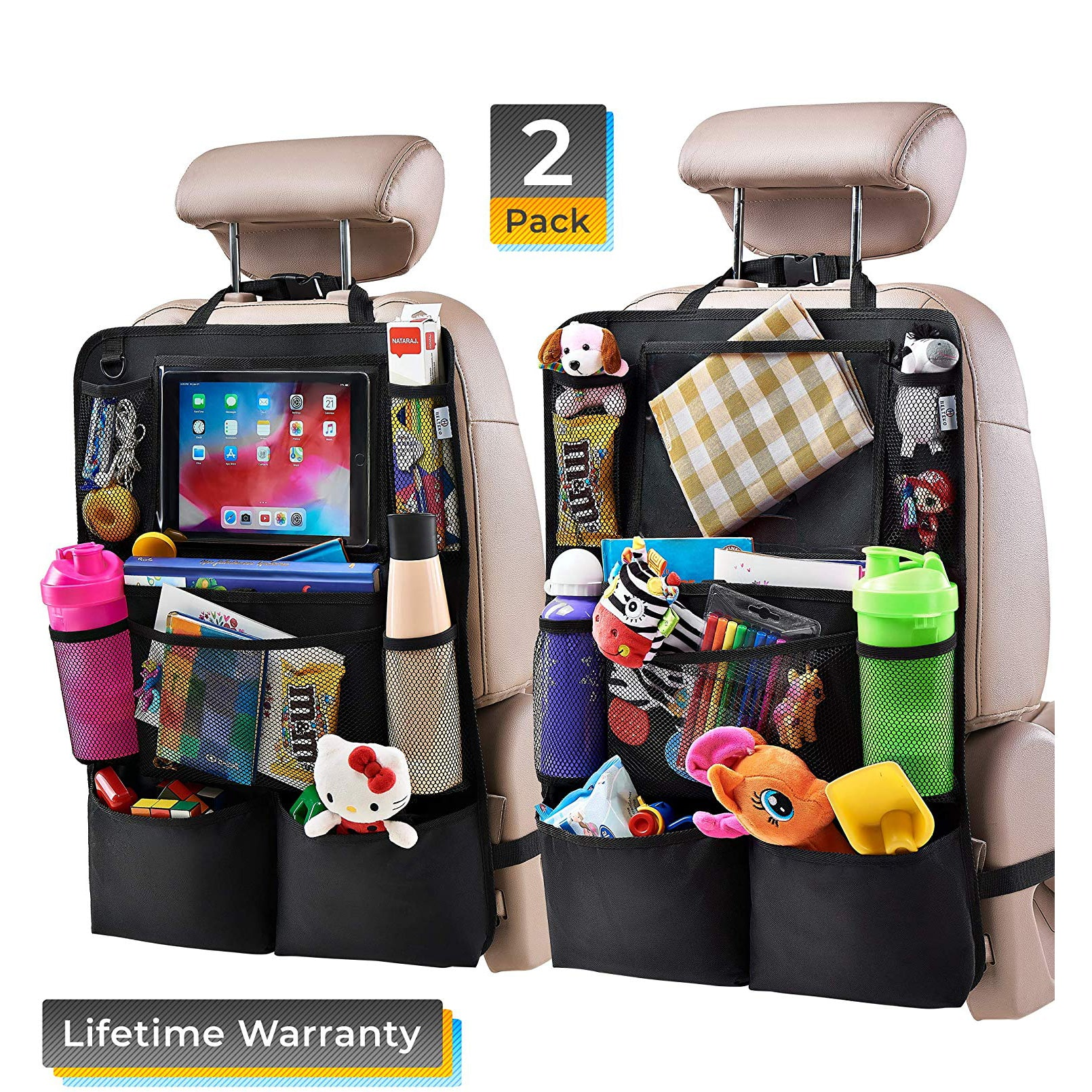 H Helteko Backseat Car Organizer with Eight Storage Pockets (2 Pack)