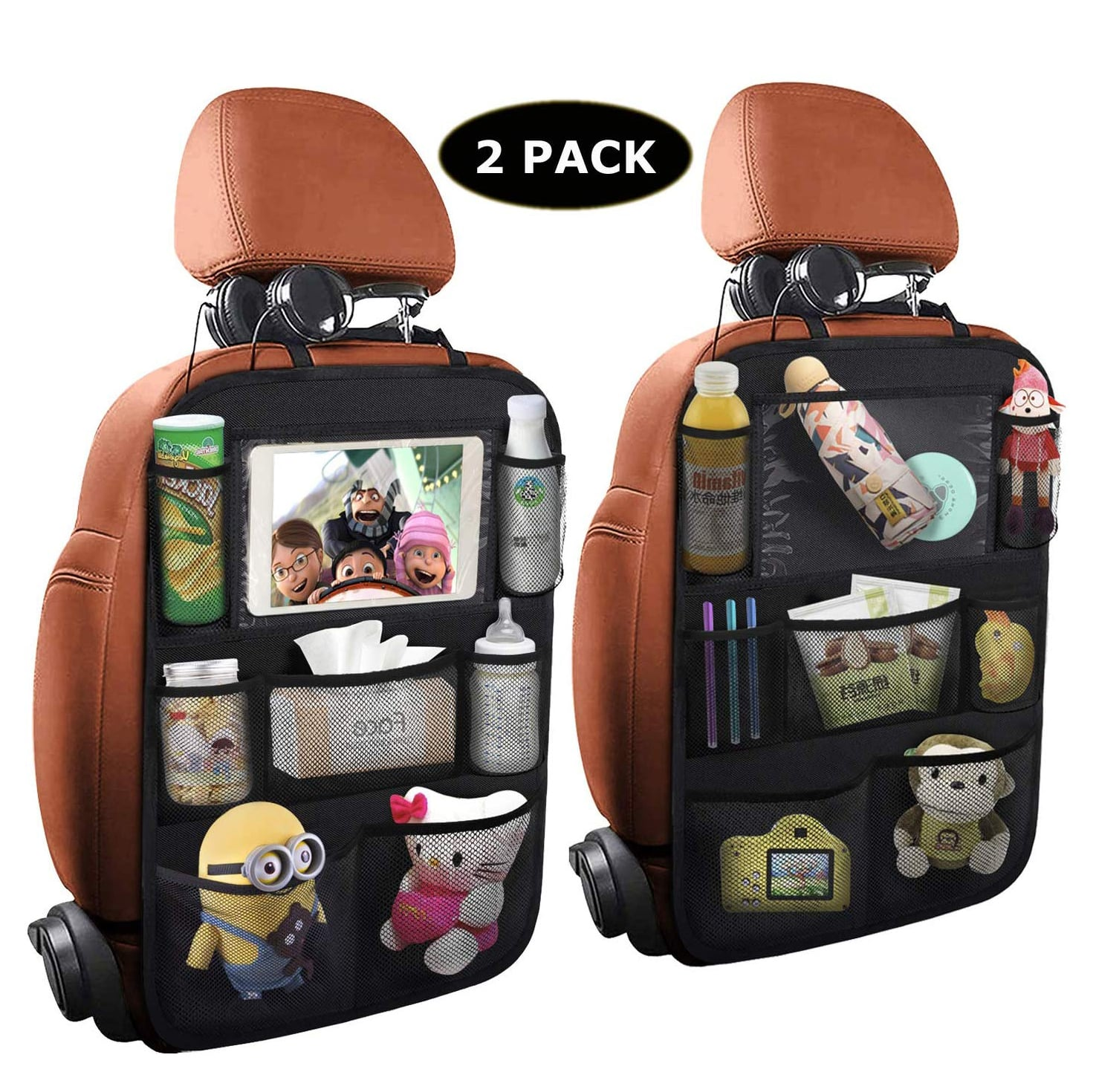 ONE PIX Car Backseat Organizer w/ a Touch Screen Tablet Holder (2 Pack)